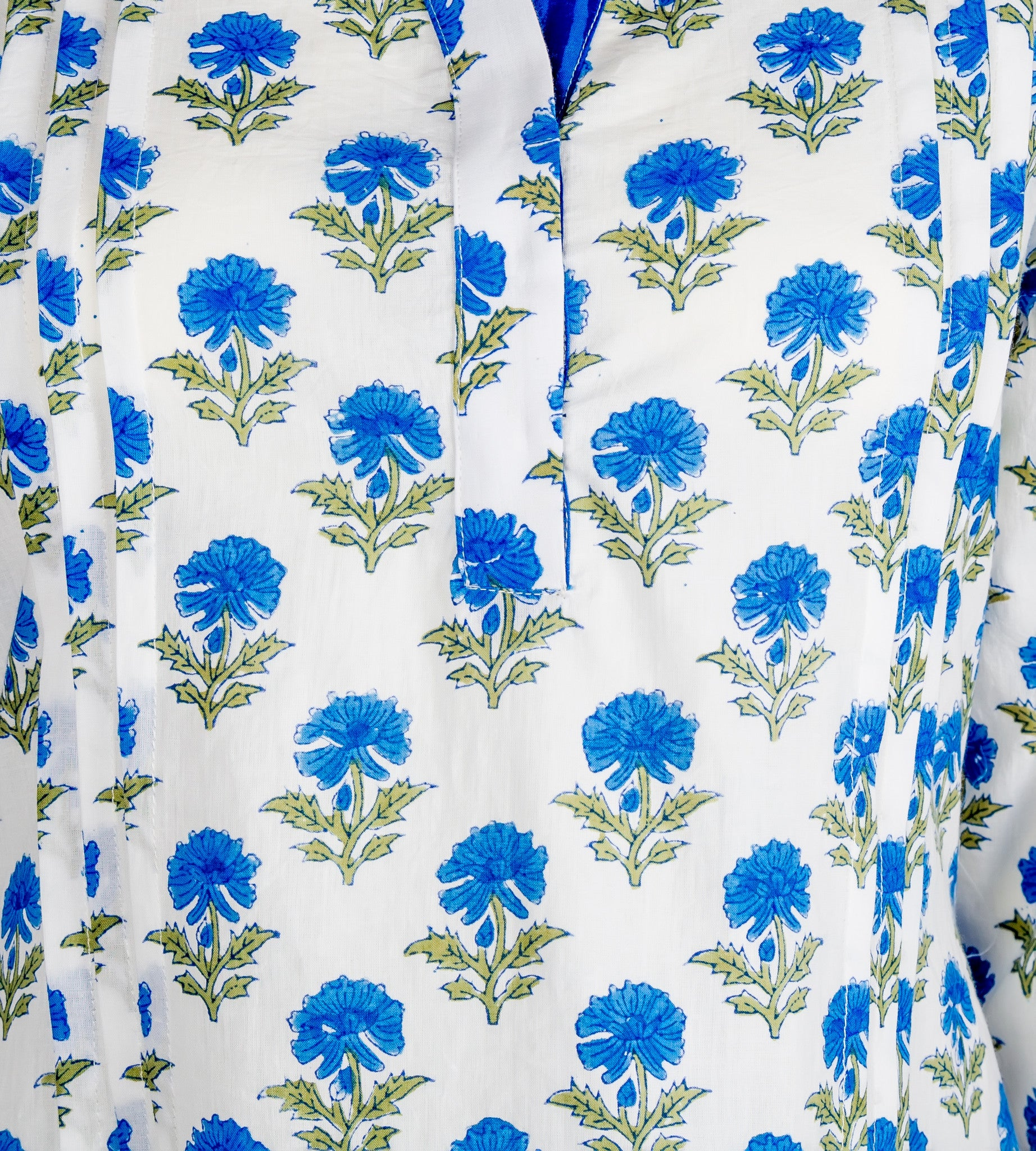 White and Blue Pleated Hand Block Printed Top - MISSPRINT