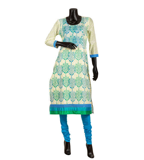 Blue Hand Block Printed and  Embroidered Chanderi Kurta