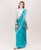 Turquoise & Off White Chanderi Silk Saree