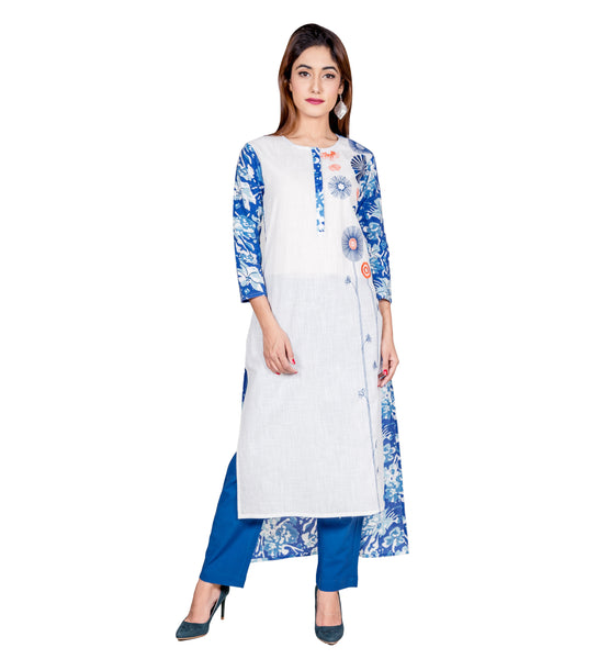 Blue & White Hand Block Printed Embroidered Indo Western Kurti