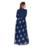 Indigo Block Printed Designer Cape Kurtif for Women