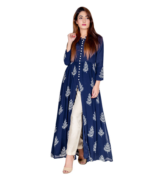 Indigo Block Printed Long Cape Kurta