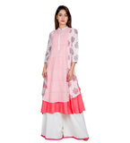 Pink and White Hand Block Printed Indo Western Kurta