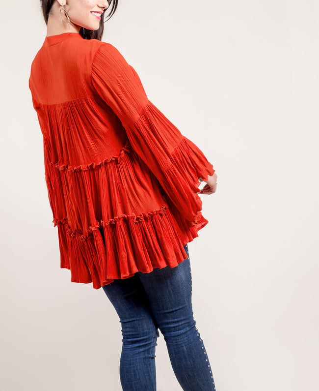 Tasseled Rayon Frill Top In Rust