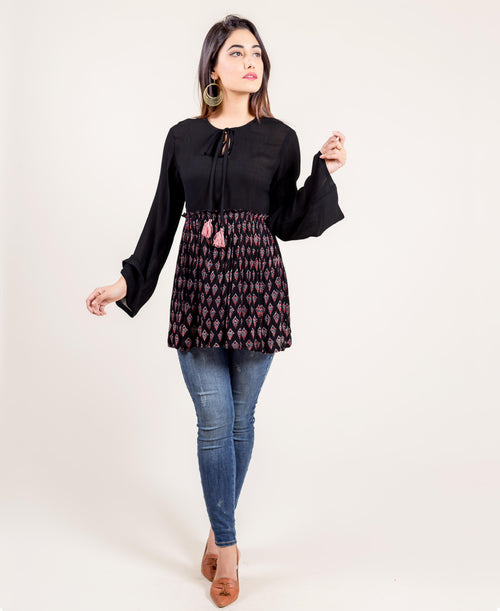Black Georgette Tasseled Tunic Top
