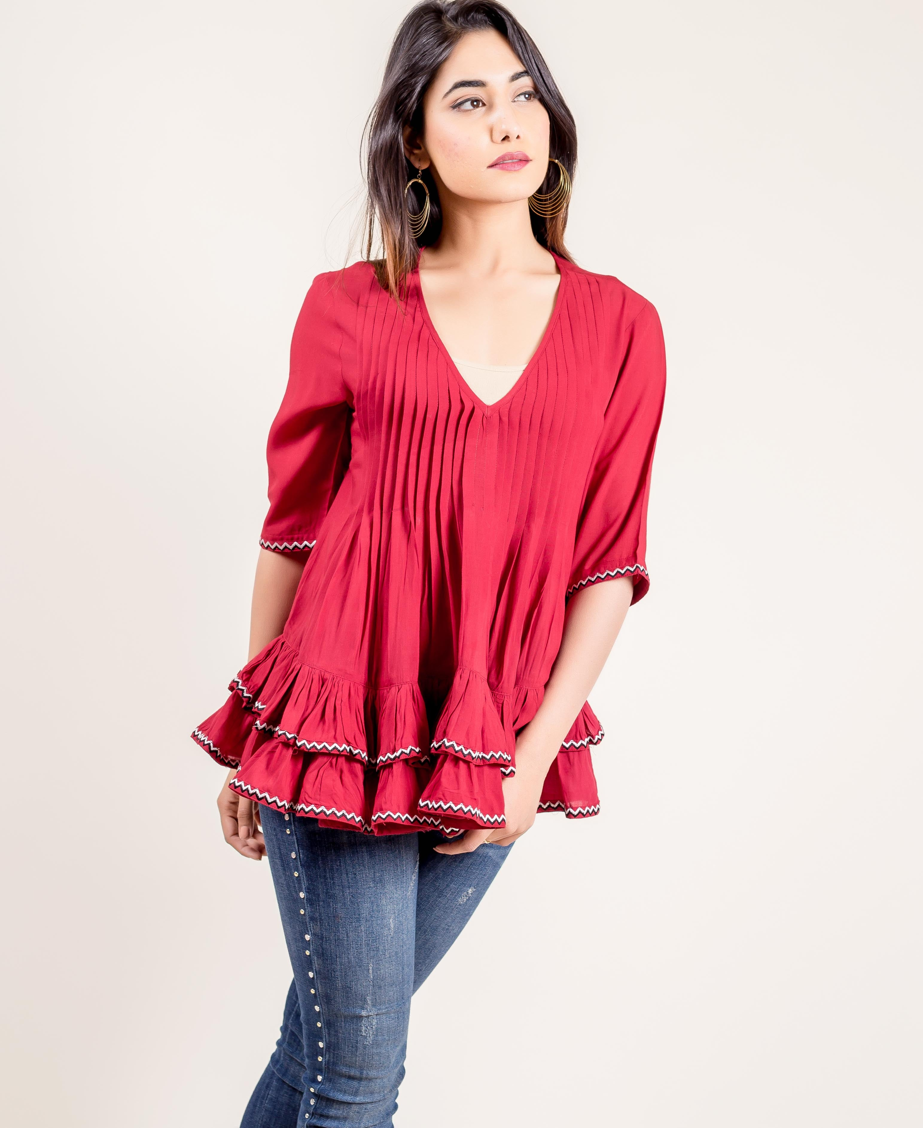Embroidered Rayon Frilled Rust Top