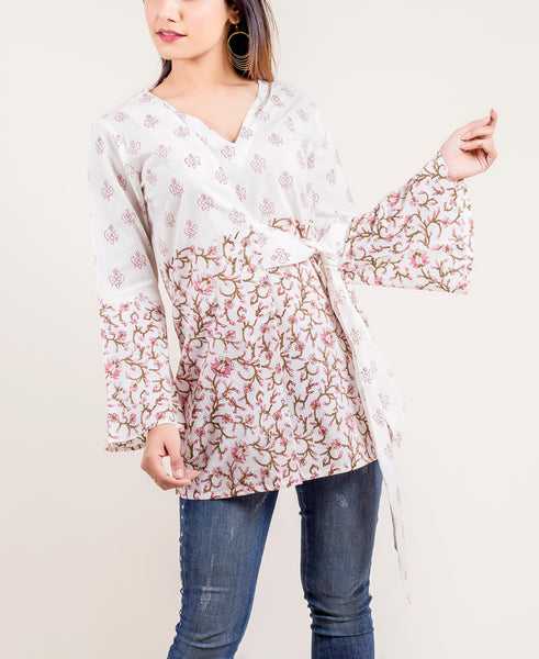 White Printed Cotton Short Top