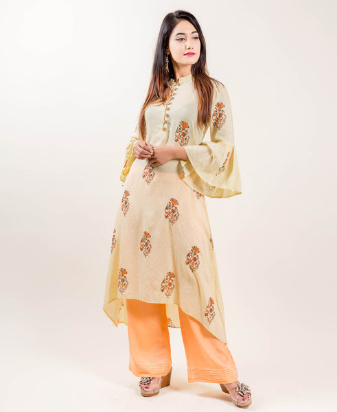 Asymmetrical Printed Indo Western Suits with Pants In Yellow/Orange