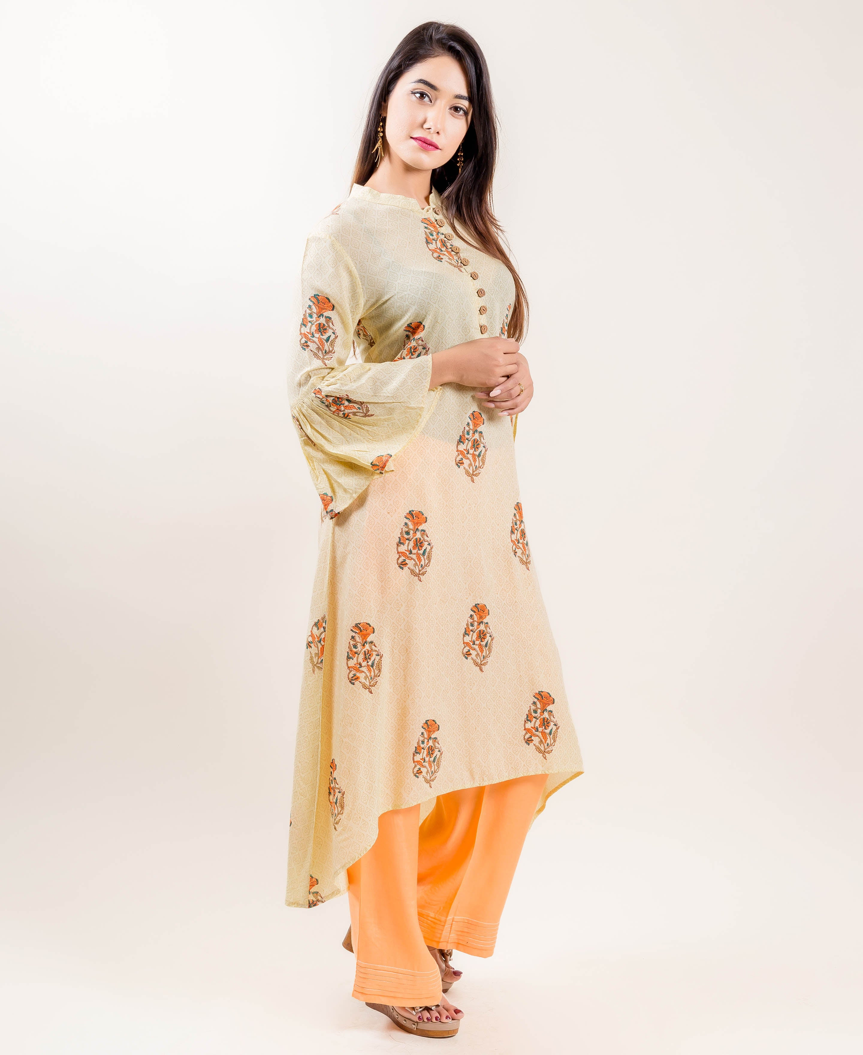 Asymmetrical Printed Indo Western Kurti with Pants In Yellow/Orange