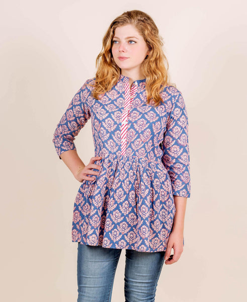 Stand Collar Top In Indigo and Red