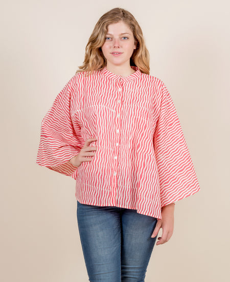 Coral Hand Block Printed Top