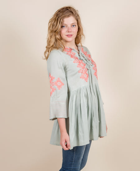 White Cotton Down Sleeved Tunic Top