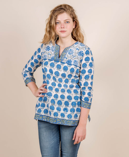 Blue Hand Block Printed Top