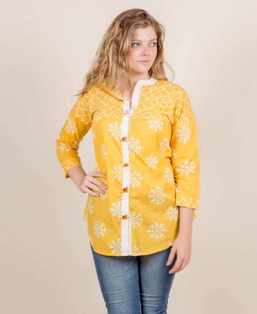 Yellow White Hand Block Print Short Kurta Top