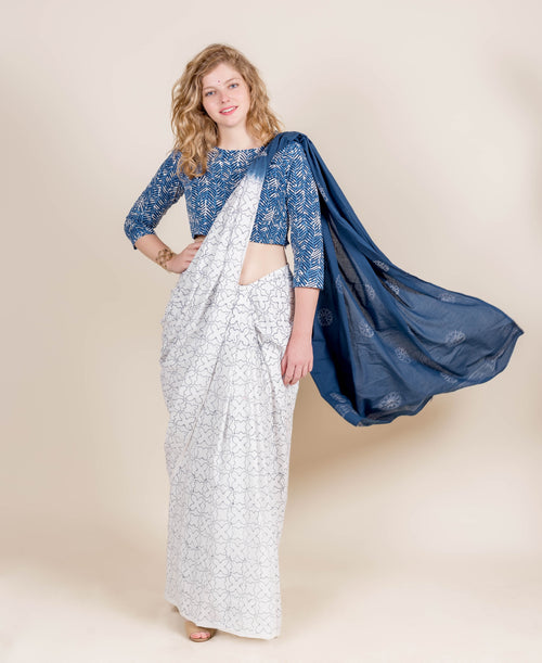 Indigo Blue Tie-Dye Cotton Voile Saree