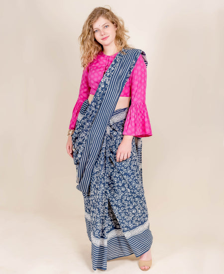 Cotton Voile White and Indigo Saree