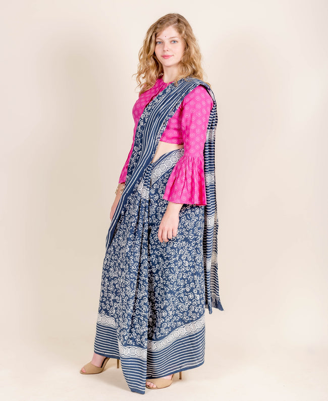 Indigo / White Hand Block Printed Saree