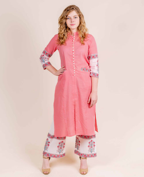 Peach Straight Cut Kurta with Hand Block Printed Palazzo Pants for Women Online