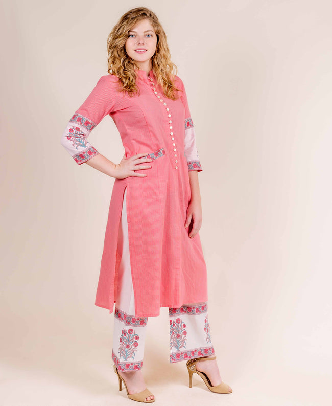 Peach Straight Cut Kurta with Hand Block Printed Palazzo Pants