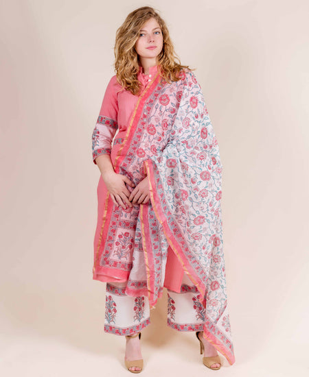 Pink and White Printed Modal Salwar Suit Set