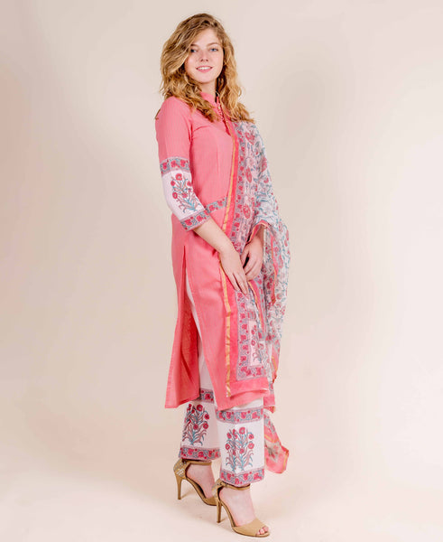 Peach Straight Cut Kurta with Hand Block Printed Pants with Dupatta
