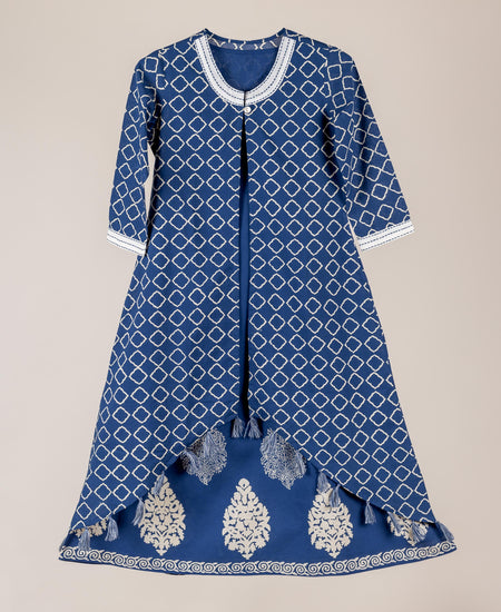 Rayon Tasseled Long Dress In Blue And Yellow