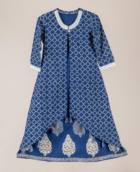 Indigo And White Hand Block Printed Jacketed Style Indian Traditional Dress For Baby Girl