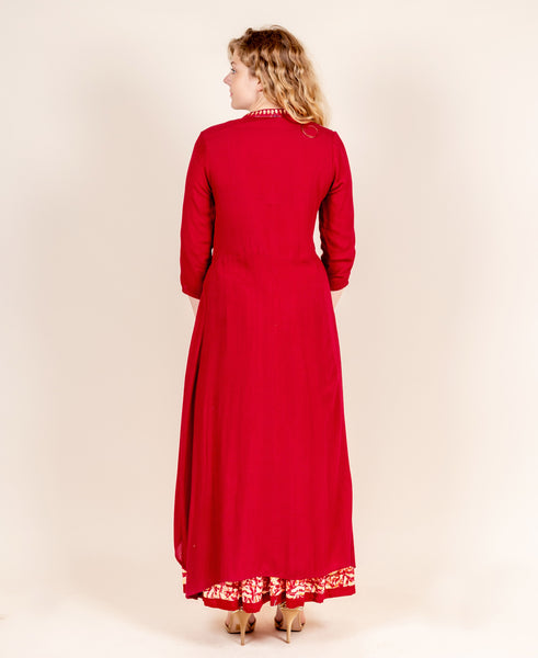 Red Hand Block Printed Gotta-Patti Kurta with Skirt