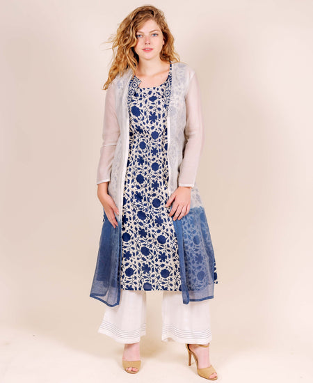 Pink and White Tie Dye Hand Block Printed Chanderi Indo Western Dress