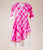 Cotton Tie Dye Asymmetrical Kurta Dress In Pink And White
