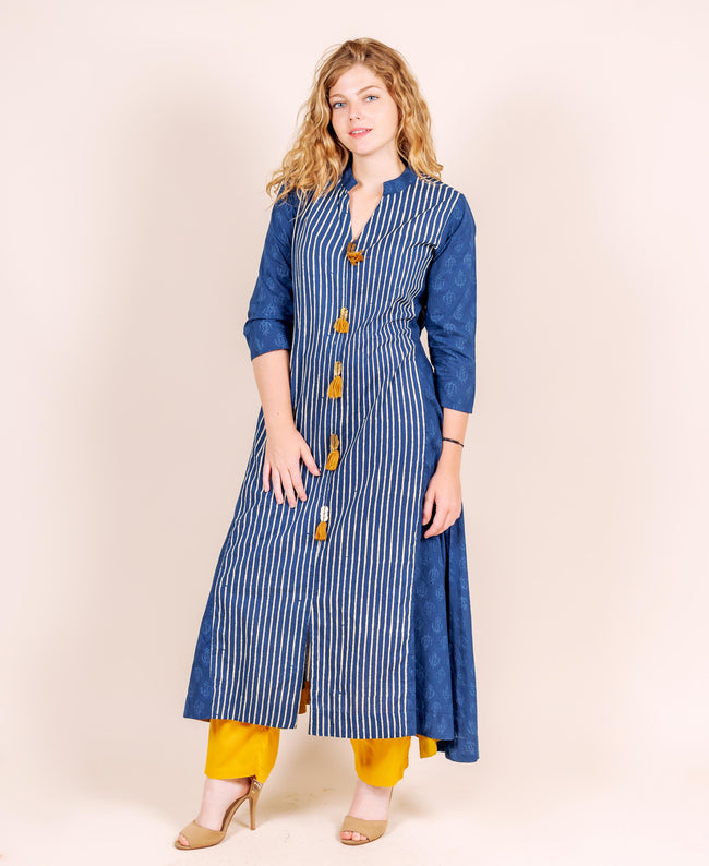 Flat V Neck Trail Cut Front Tasselled Indo Western Kurta with Mustard Pants
