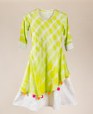 Lime And Green Cotton Tasseled Asymmetrical Kids Ethnic Wear Dress