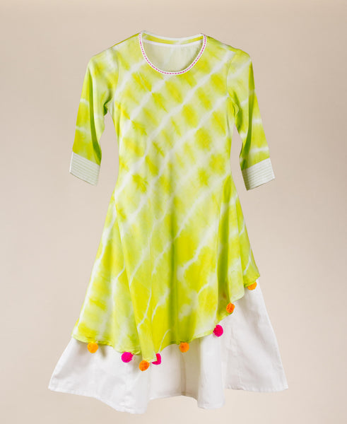 Asymmetrical Lime Tie And Dye Indo Western Dress