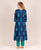 Indigo Asymmetrical Hand Block Printed Kurti with Side Antique Coin Design