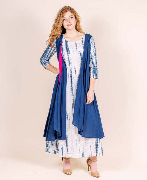 Indigo Tie and Dye Indo Western Gown with Attached Shrug