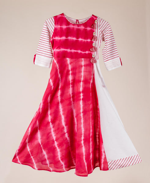 Cotton White And Pink Tie-Dye Anarkali Style Indian Traditional Dress For Baby Girl