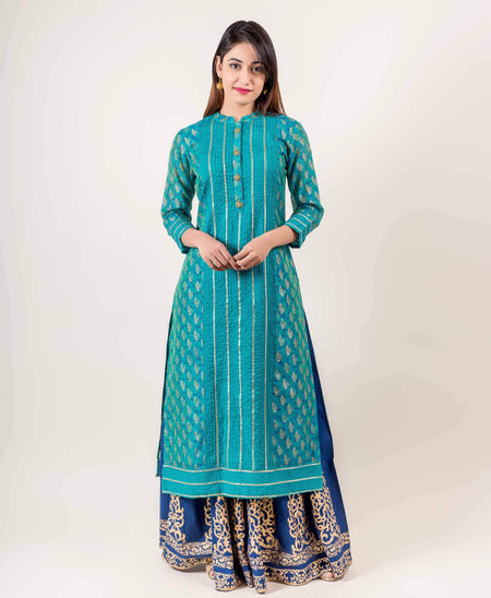 Azure Blue Pleated Hand Block Print Indo Western Gown