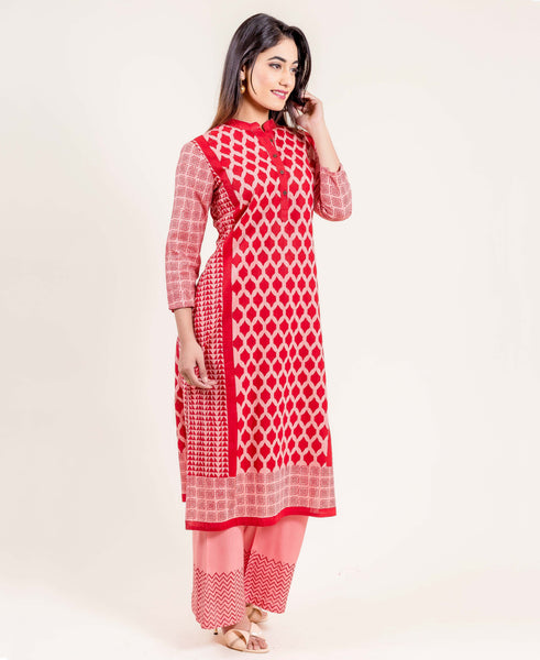 Printed Straight Kurta In Pink And Red