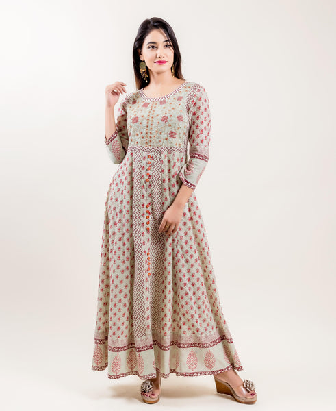 Embroidered Long Block Printed Anarkali Dresses online for women