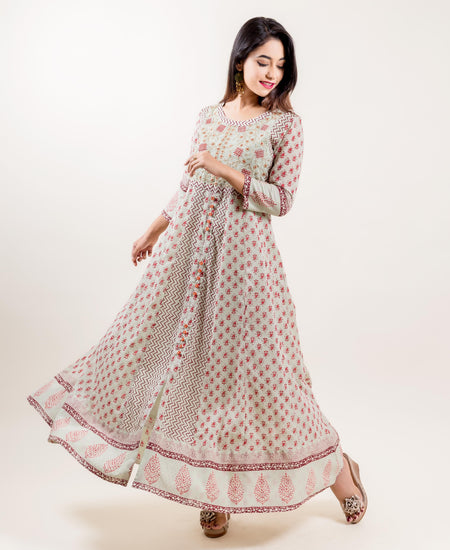 Aqua Modal Red/Green Printed Long Anarkali Dress