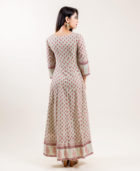 hand block printed full length gowns for women online