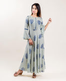block printed long anarkali dress for female online shopping