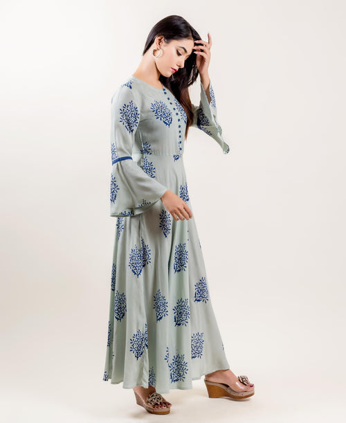 Rayon Bell Sleeved Indo Western Dresses In Aqua And Blue