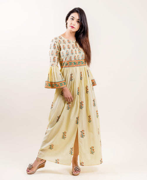 Cotton Printed Long Front Slit Indowestern Dress In Yellow And Orange