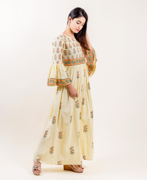 Yellow And Orange Block Printed Full length indo western dress designs for women online