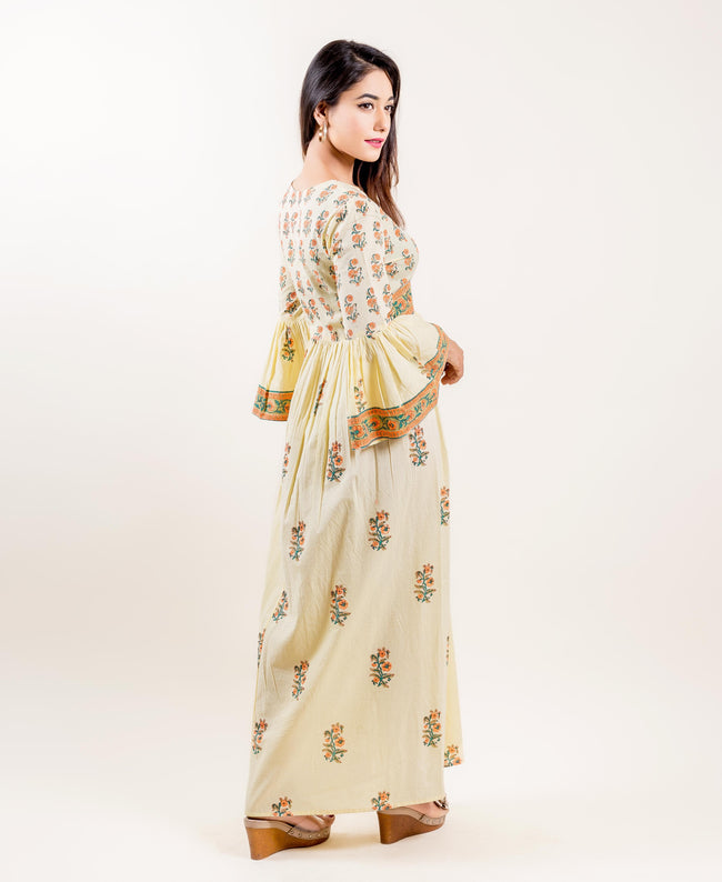 Cotton Printed Long Front Slit Dress In Yellow And Orange