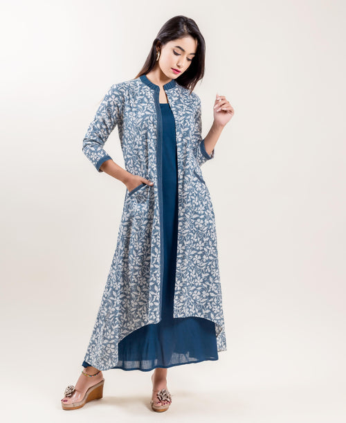 Double Layered Asymmetrical Long Indowestern Dress In Grey And Blue