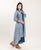 Grey And Blue Double Layered Long Designer Asymmetrical Dresses