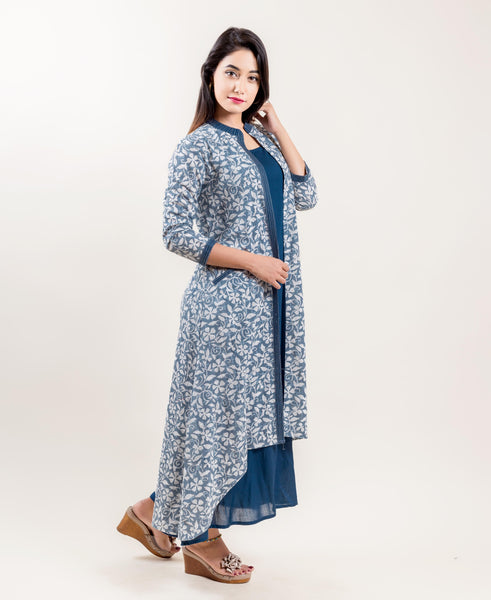 Double Layered Asymmetrical Dress In Grey And Blue