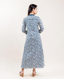 Grey And Blue Block printed dresses online shopping for women and girls